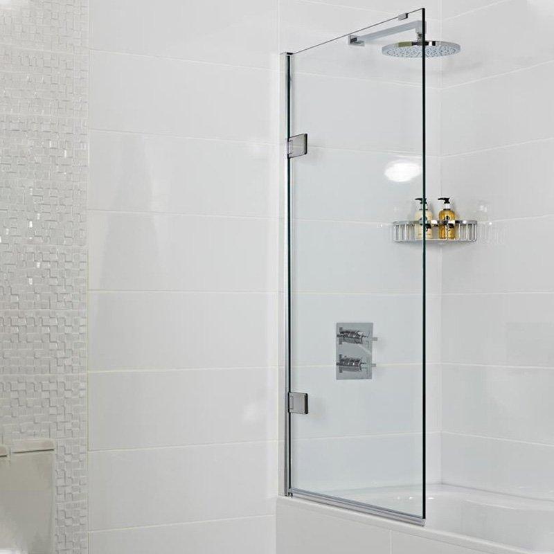 Roman Lumin8 Pivoting Bath Screen With Black Frame Low