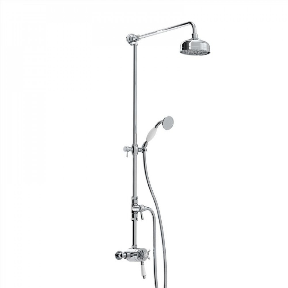 Bristan 1901 Exposed Concentric Chrome Shower Valve with Diverter and Rigid Riser Kit