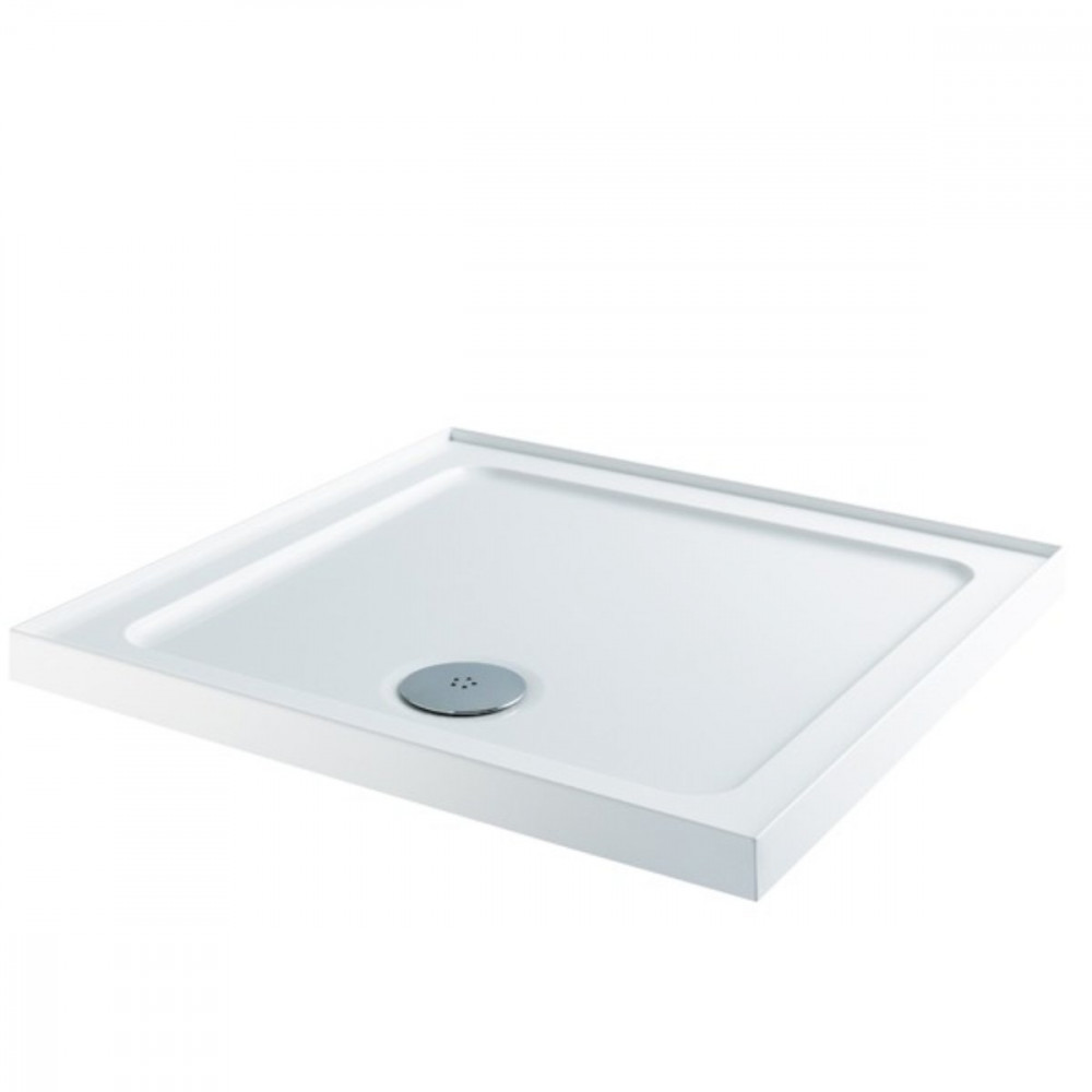 900 Square Shower Tray With Upstands Low Profile Stone Resin