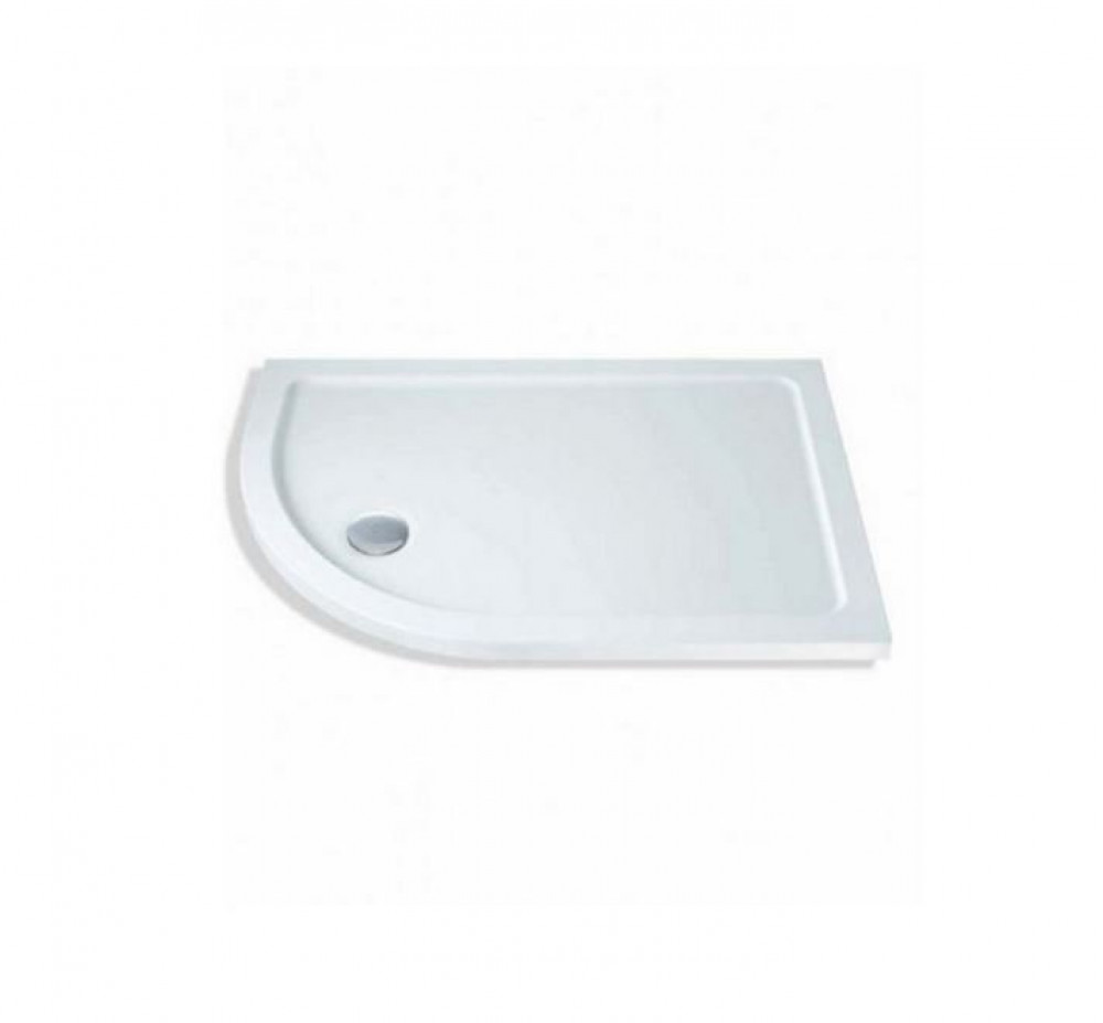 900mm x 760mm Lakes Low Profile Offset Quadrant Shower Tray & Fast Flow Waste Left Hand
