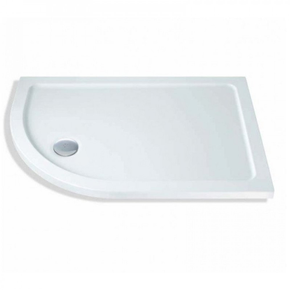900mm x 800mm Lakes Low Profile Offset Quadrant Shower Tray & Fast Flow Waste Left Hand