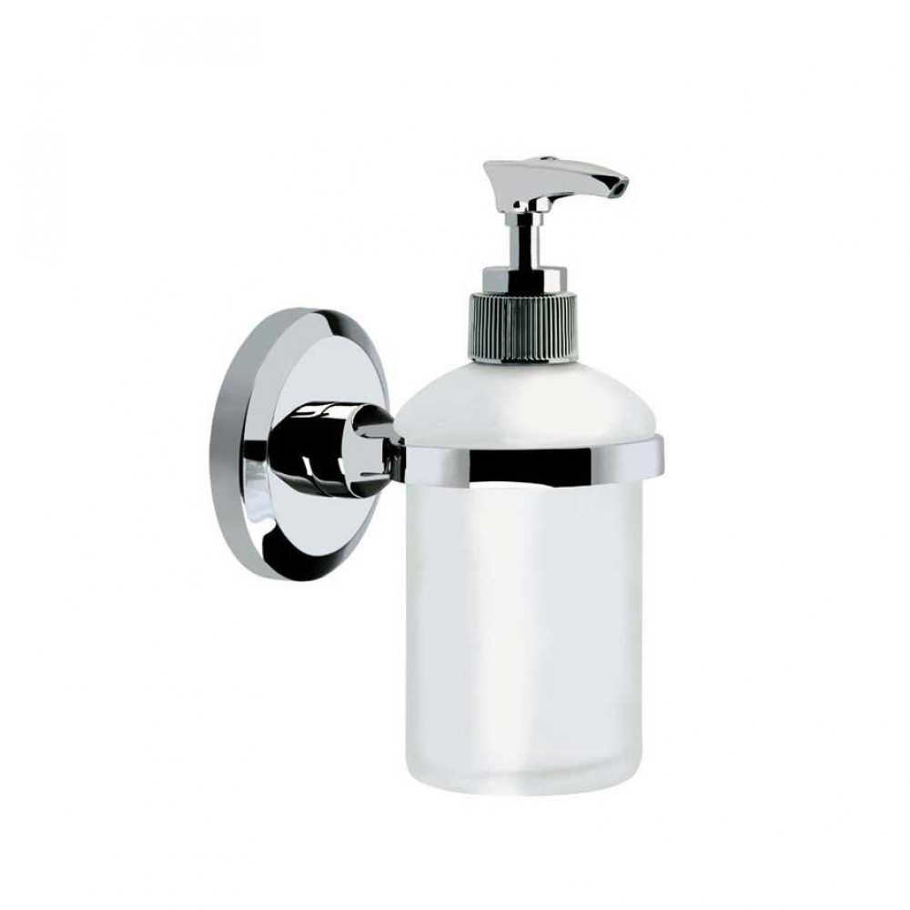 Bristan Solo Wall Mounted Frosted Glass Soap Dispenser Chrome Plated