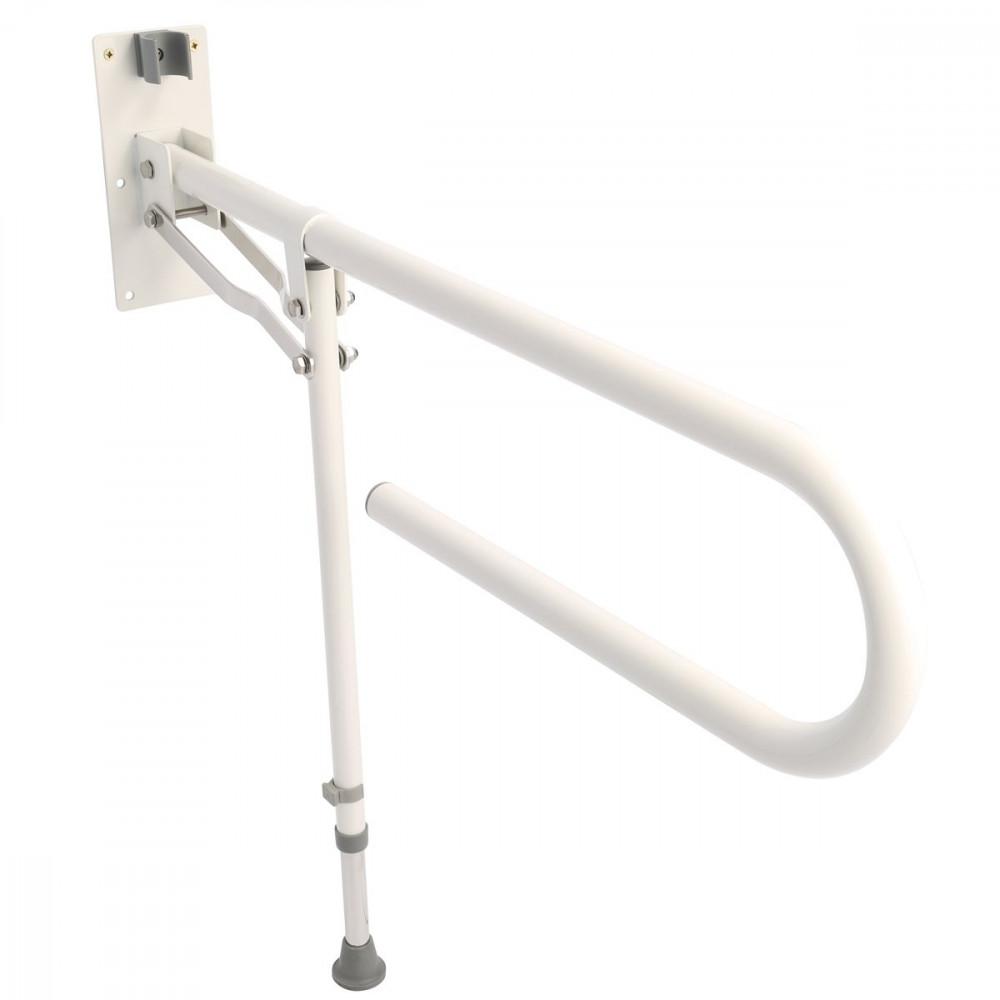 Croydex Fold Away Hand Rail With Drop Down Leg - White