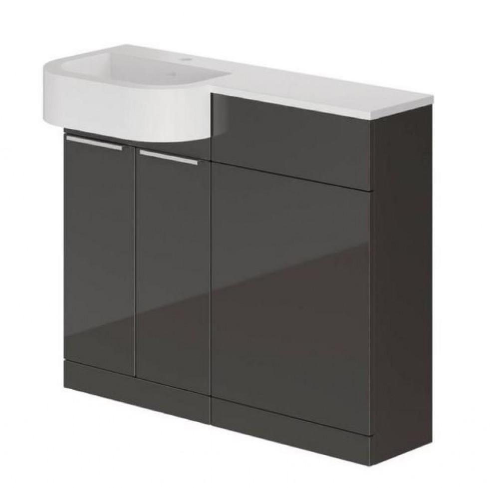 Elation Combination P Shape LH Furniture Pack - Graphite Gloss