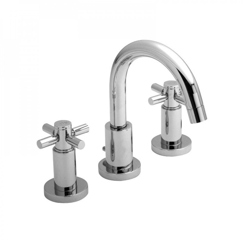 Hudson Reed Tec Crosshead 3 Tap Hole Basin Mixer with Waste