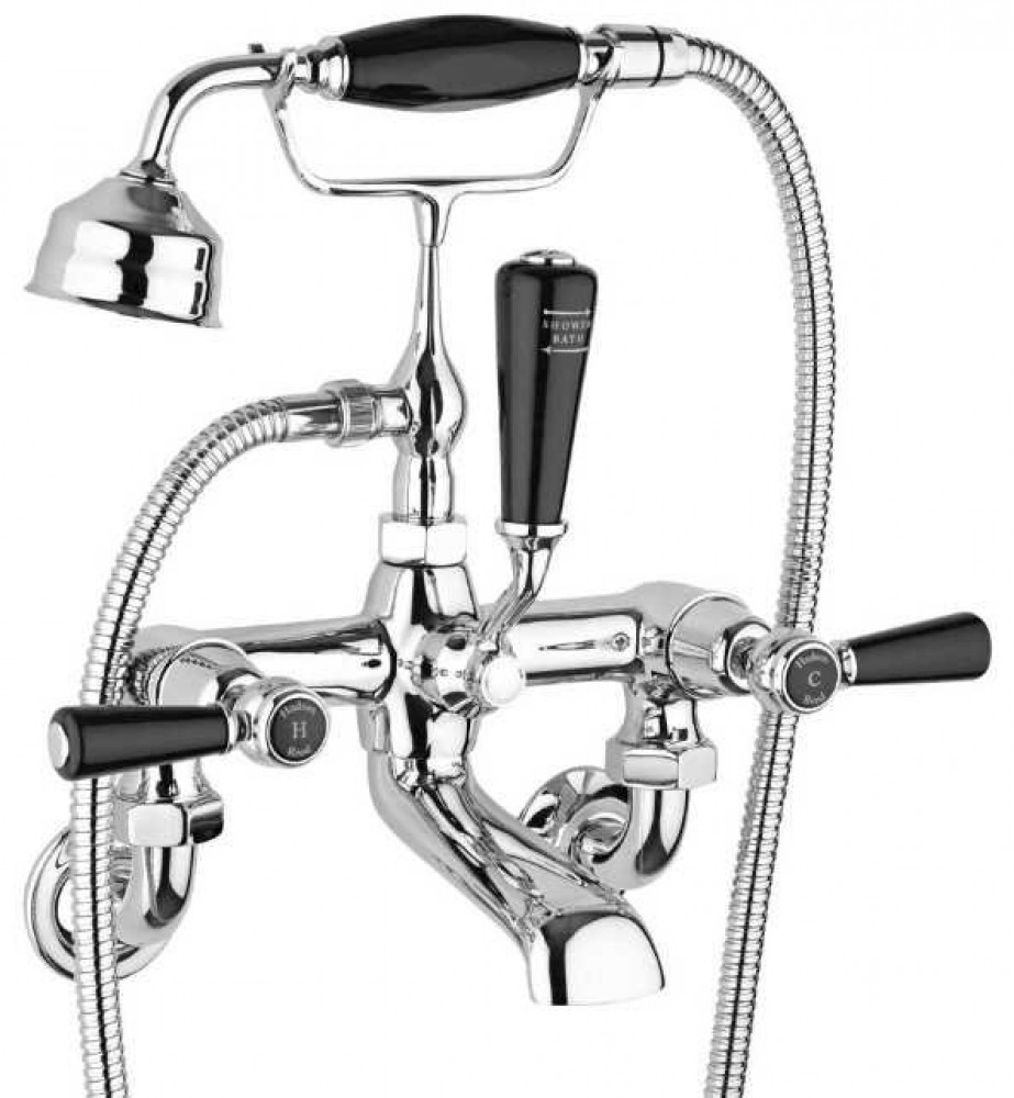 Hudson Reed Topaz Wall Mounted Dome Bath Shower Mixer - Black Lever Handles