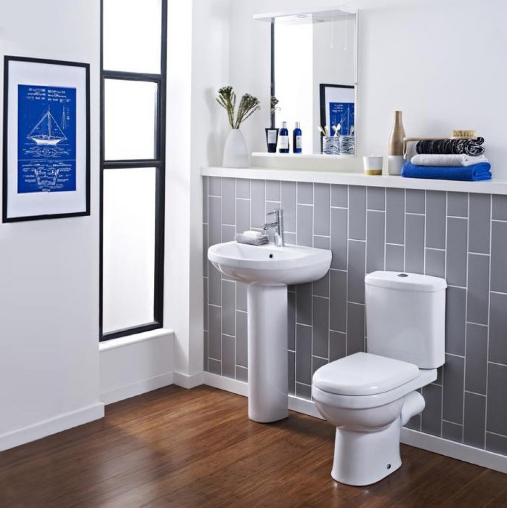Ivo 4 Piece Bathroom Suite - Toilet & 550mm 1TH Basin with Pedestal
