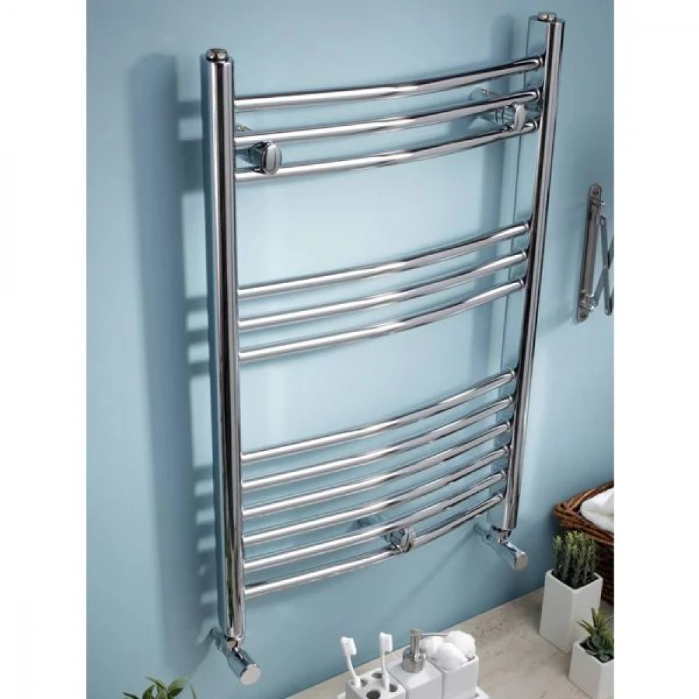 Kartell Electric Curved Heated Chrome Plated Towel Rail 500mm x 800mm | ECTR508C