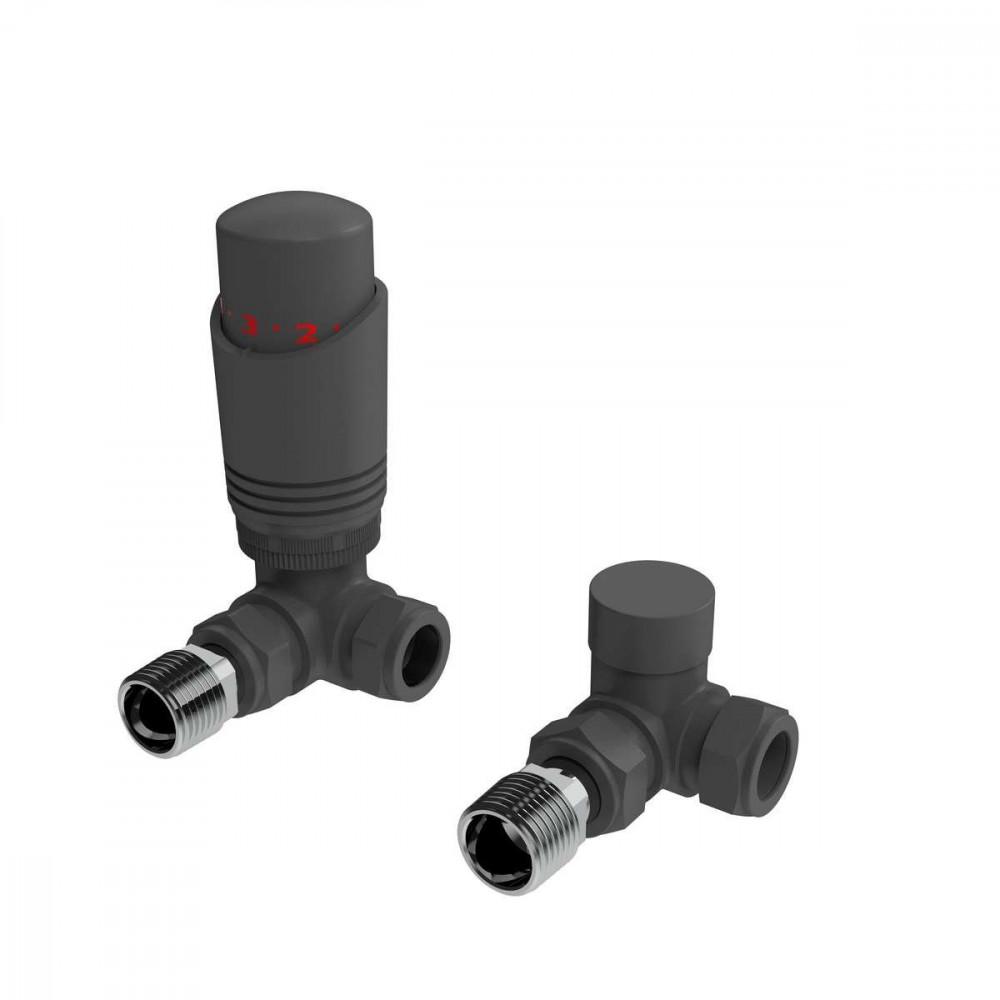 Kartell K-Design Anthracite Corner Thermostatic Radiator Valves Twin Pack