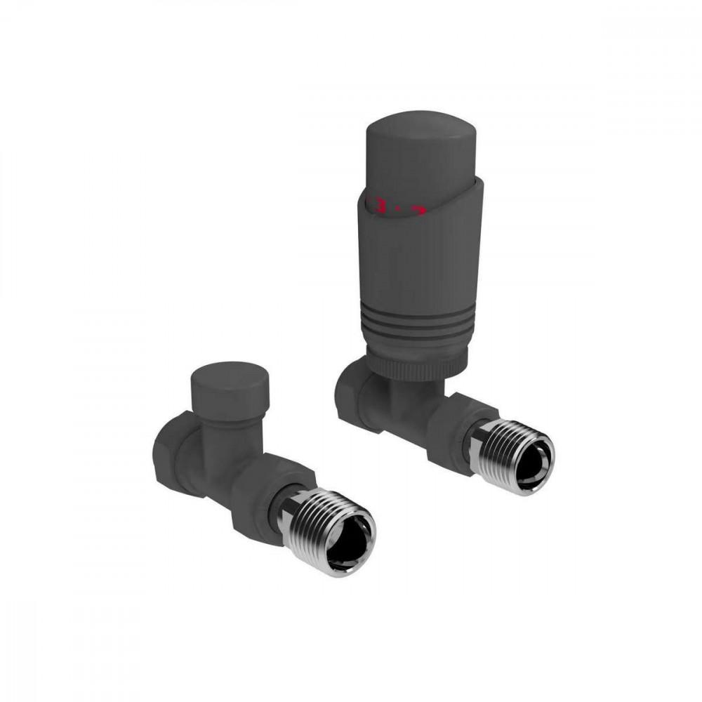 Kartell K-Design Anthracite Straight Thermostatic Radiator Valves Twin Pack