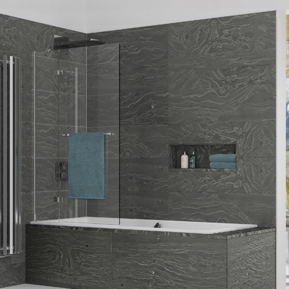 Kudos Inspire 2 Panel In-Swing Bath Screen 1500 x 950mm LH - 8mm Glass