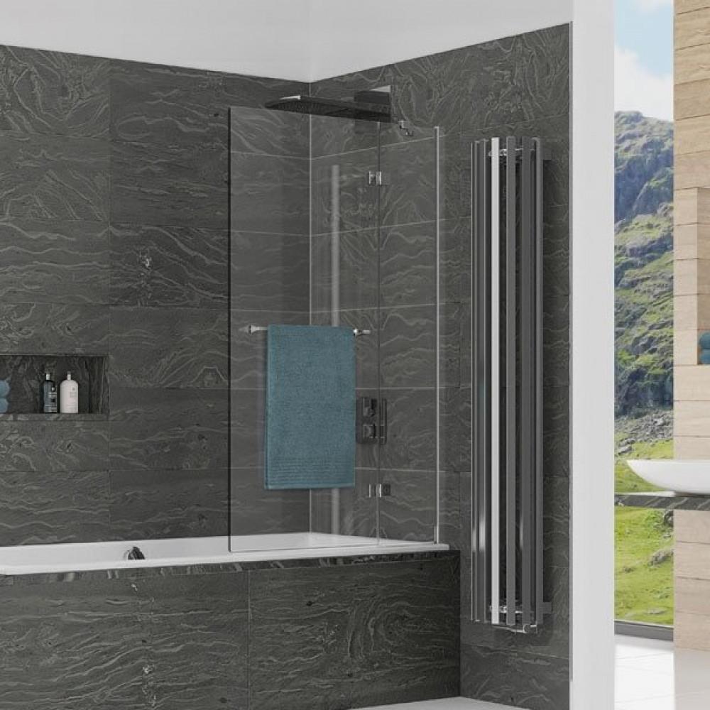 Kudos Inspire 2 Panel In-Swing Bath Screen with Towel Rail 1500 x 950mm RH - 6mm Glass