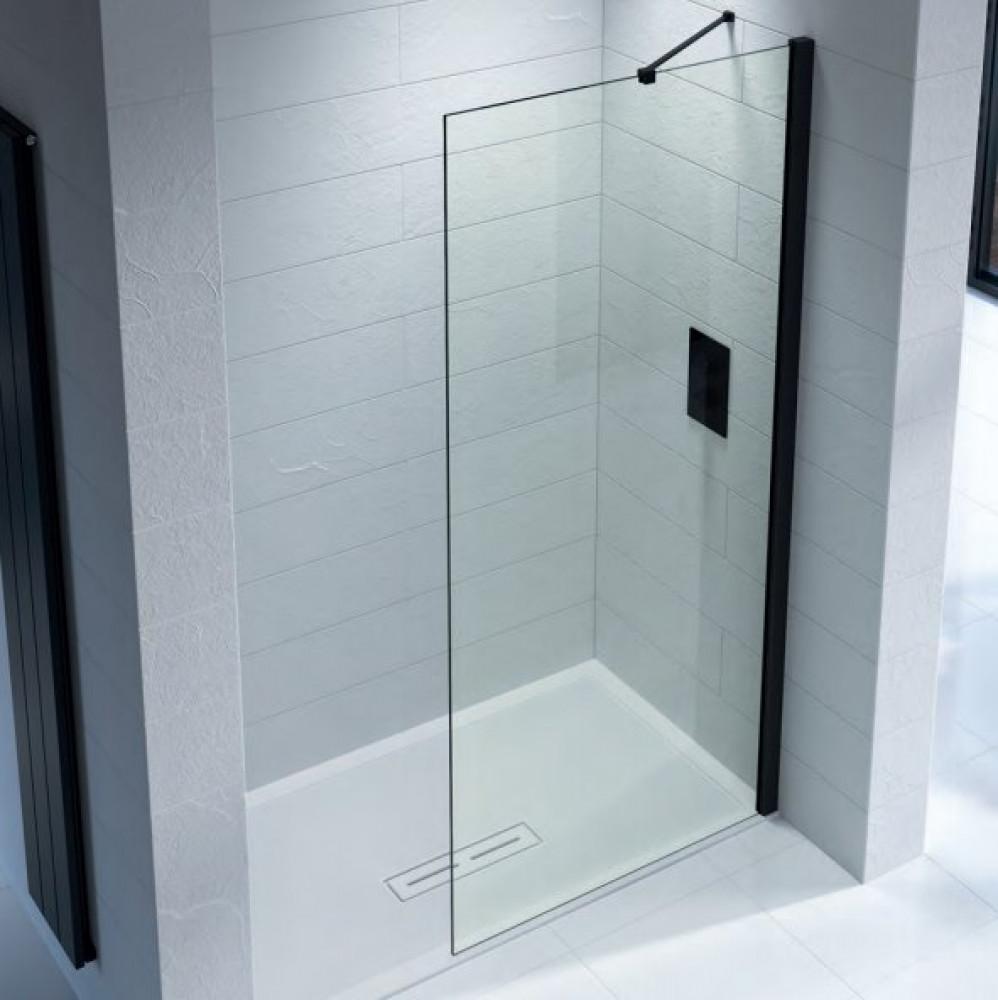 Kudos Ultimate 2 600mm Wetroom Panel 8mm Glass with Matt Black Profile