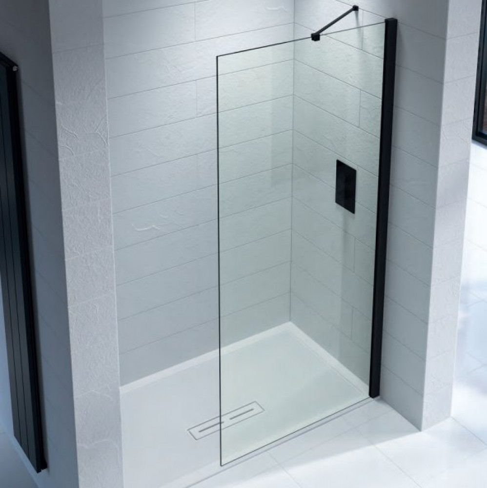 Kudos Ultimate 2 500mm Wetroom Panel 8mm Glass with Matt Black Profile
