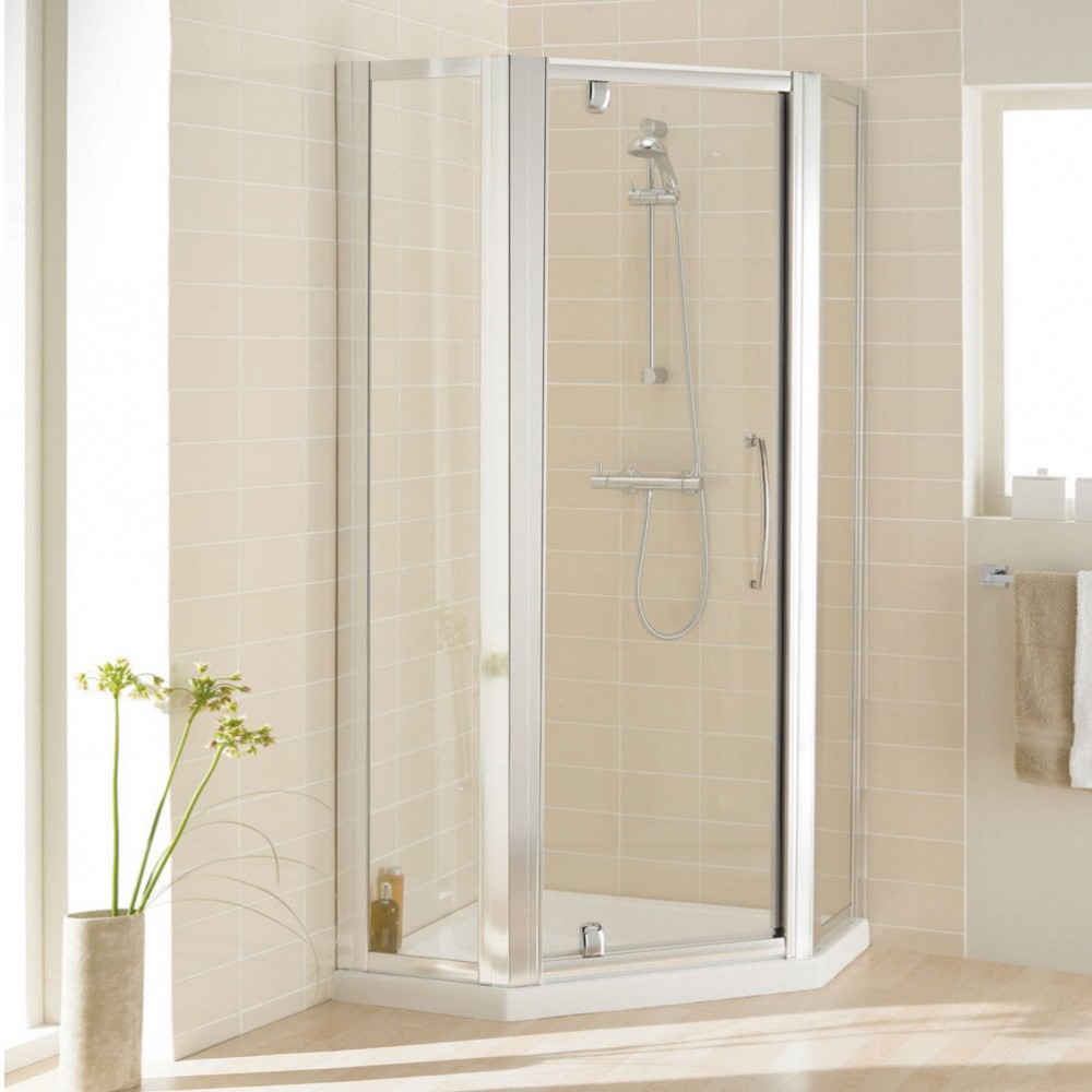 Lakes Bathrooms 900mm Semi Frameless Pentagon Shower Enclosure with Pivot Door