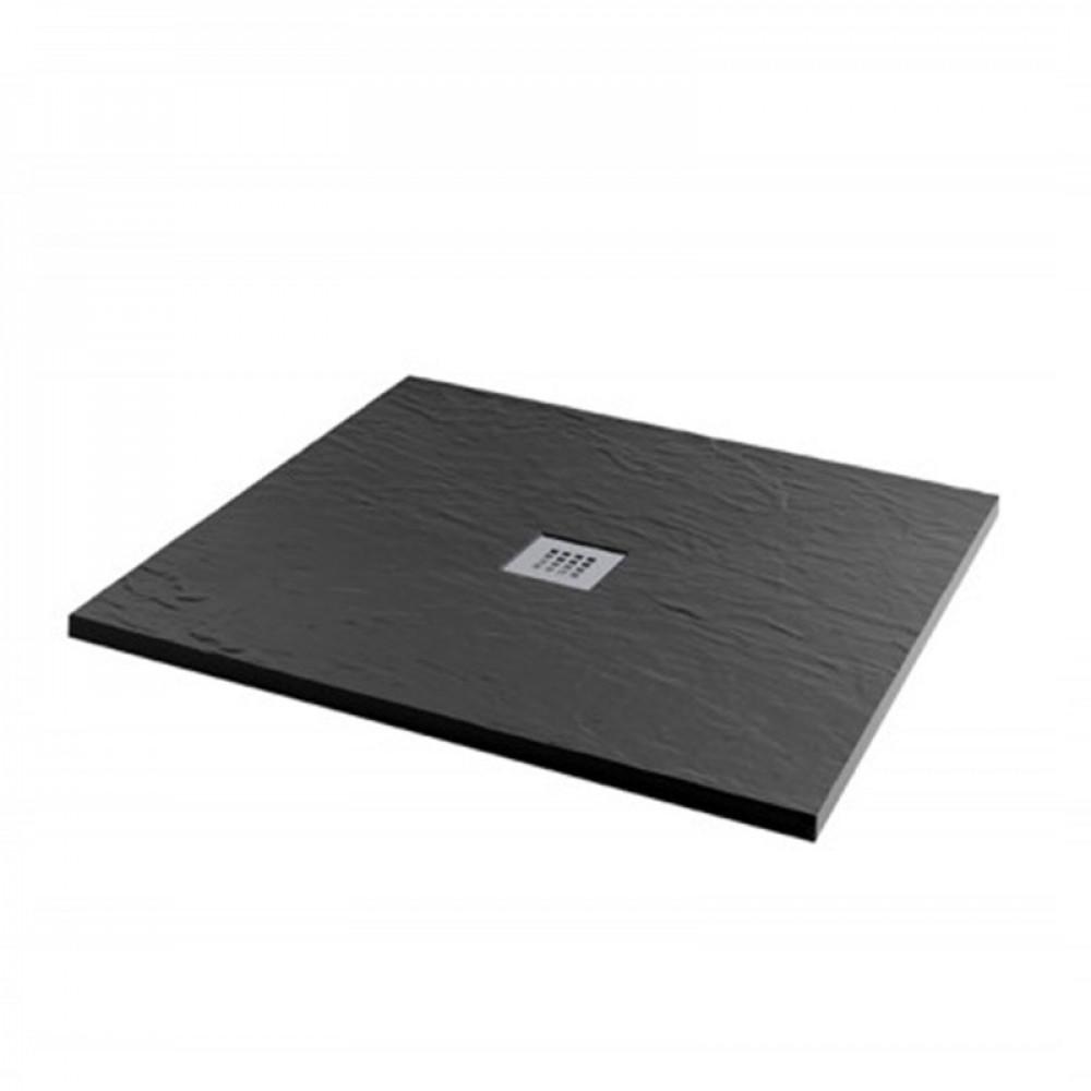 MX Minerals 1000 X 1000mm Square Jet Black Shower Tray