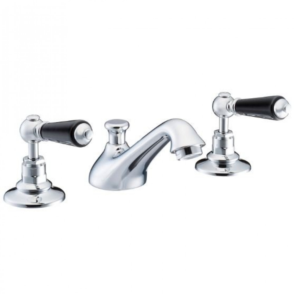 Marflow St James London Lever Three Hole Basin Mixer with Black Levers & Pop Up Waste
