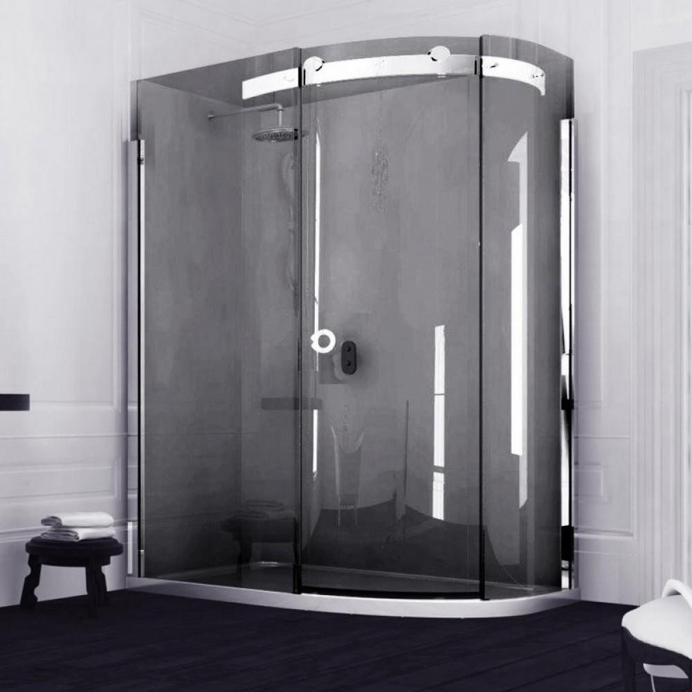 Merlyn 10 Series Offset Quadrant Smoked Black Shower Enclosure 1200 x 900mm