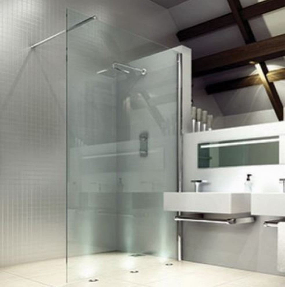 Merlyn 8 Series Shower Wall 700mm Wetroom Panel with bracing bar