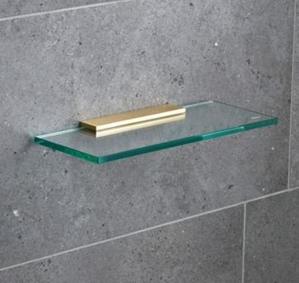 Miller 300mm Classic Glass Shelf with Polished Untreated Brass Fixing Bracket
