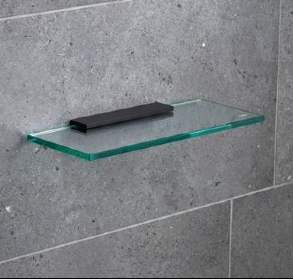 Miller 300mm Classic Glass Shelf with Black Fixing Bracket