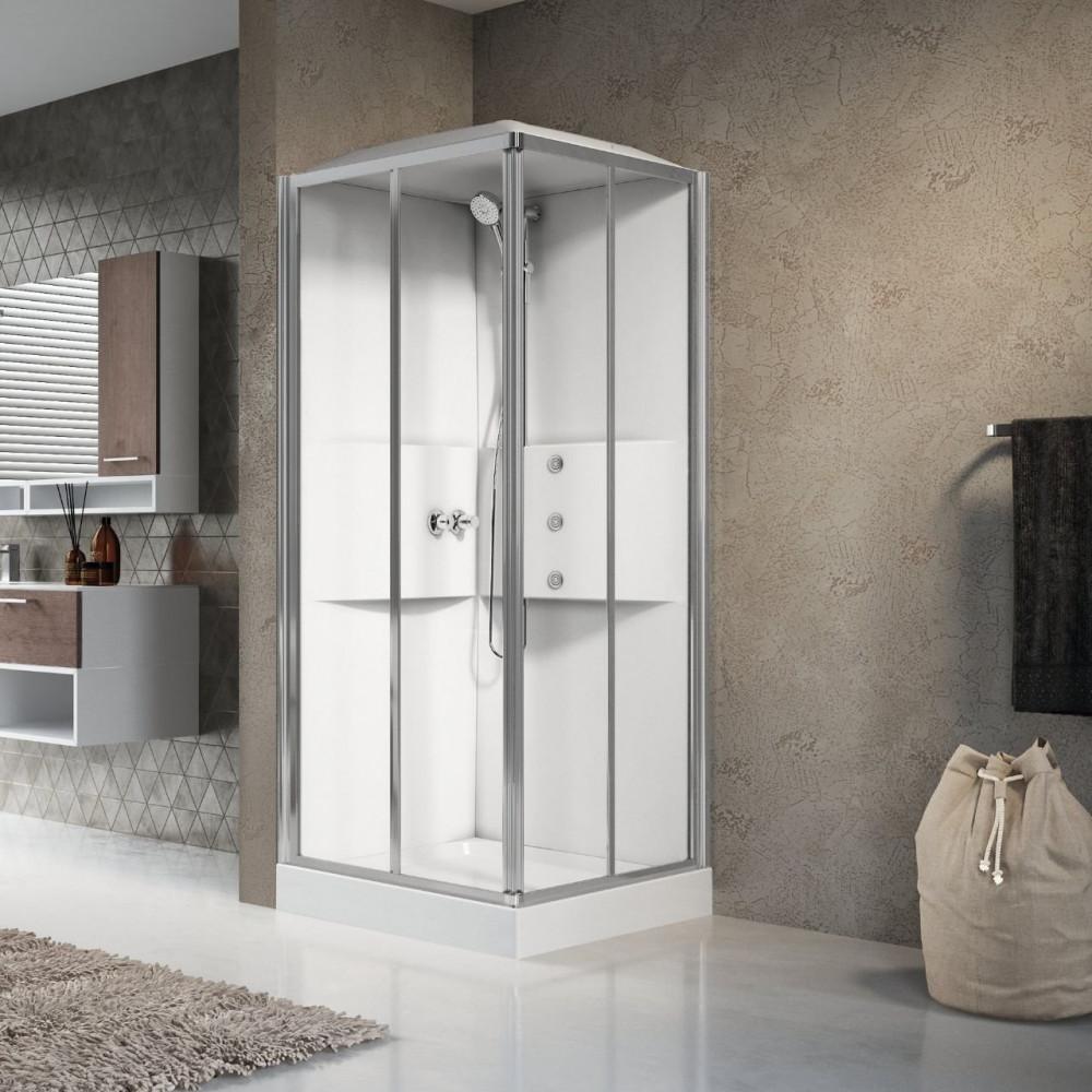 Novellini Media 2.0 A80 Shower Pod Corner Entry 800mm Silver