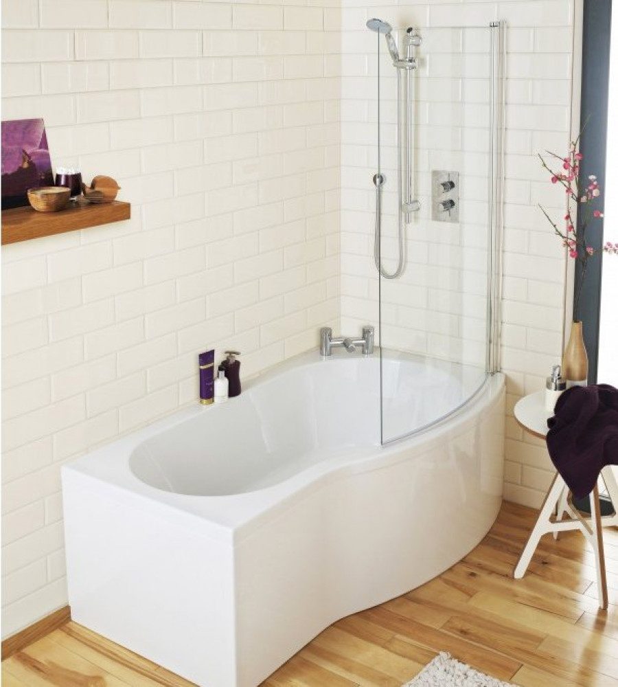 Premier B-Shaped 1700mm right hand shower bath Screen & Panel