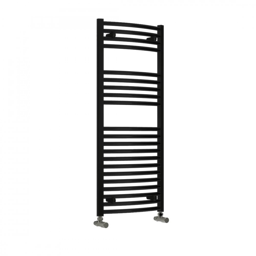 Reina Diva 1200 x 500mm curved Heated Towel Rail Black