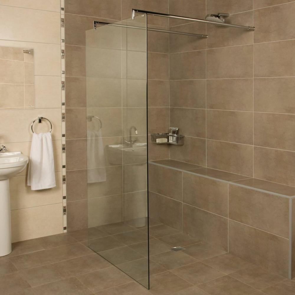 Roman Embrace 1327mm Wetroom Linear Panel Patterned Glass