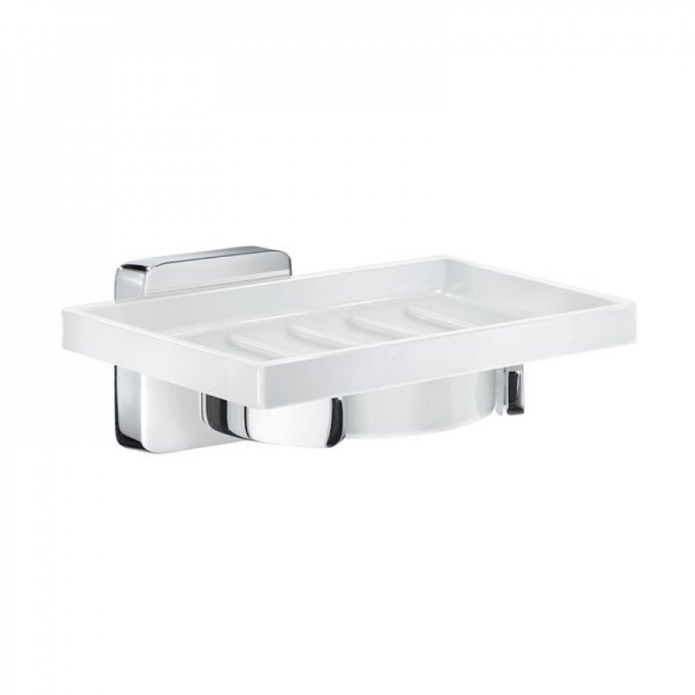 Smedbo Ice Chome Holder with Porcelain Soap Dish