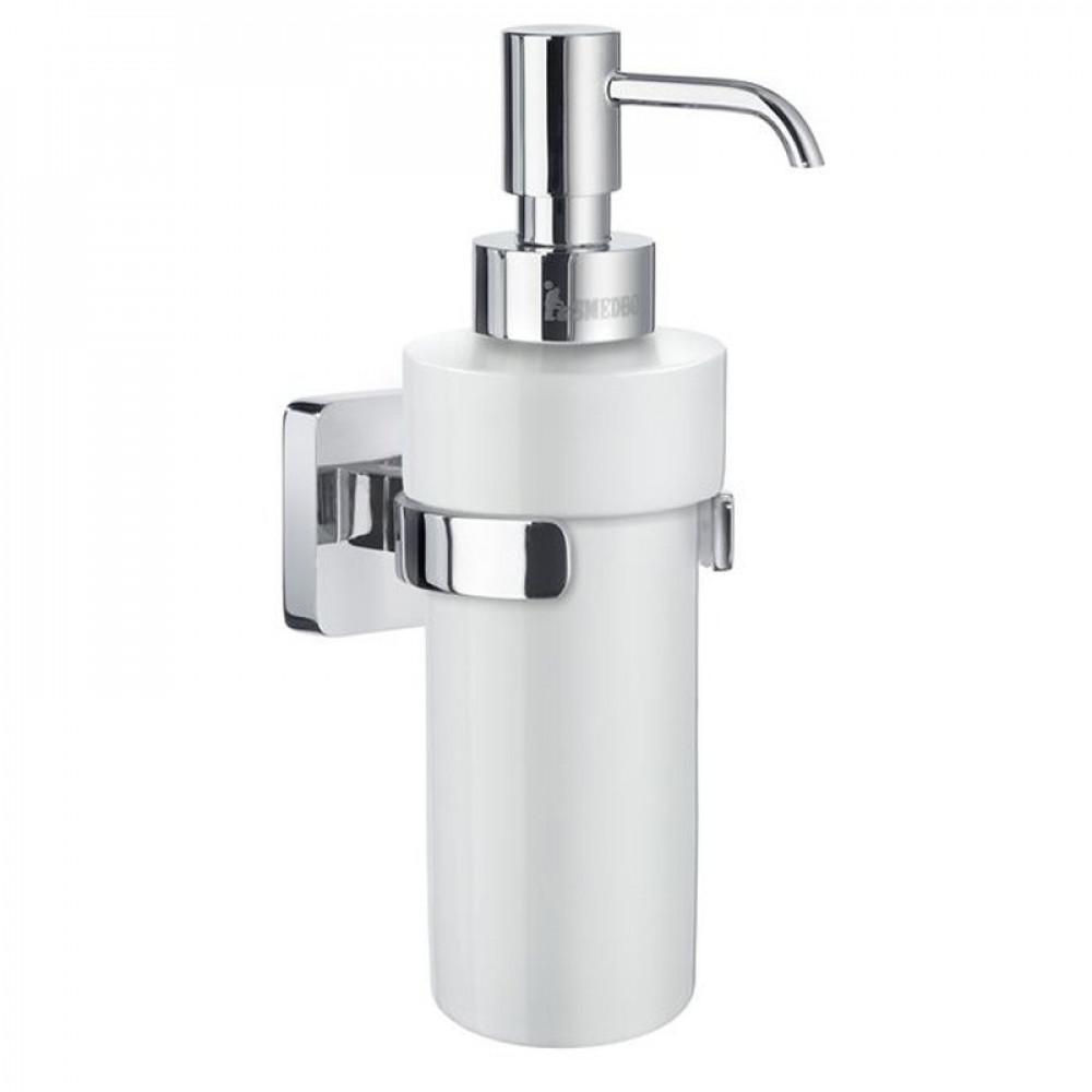Smedbo Ice Chrome Holder with Porcelain Soap Dispenser