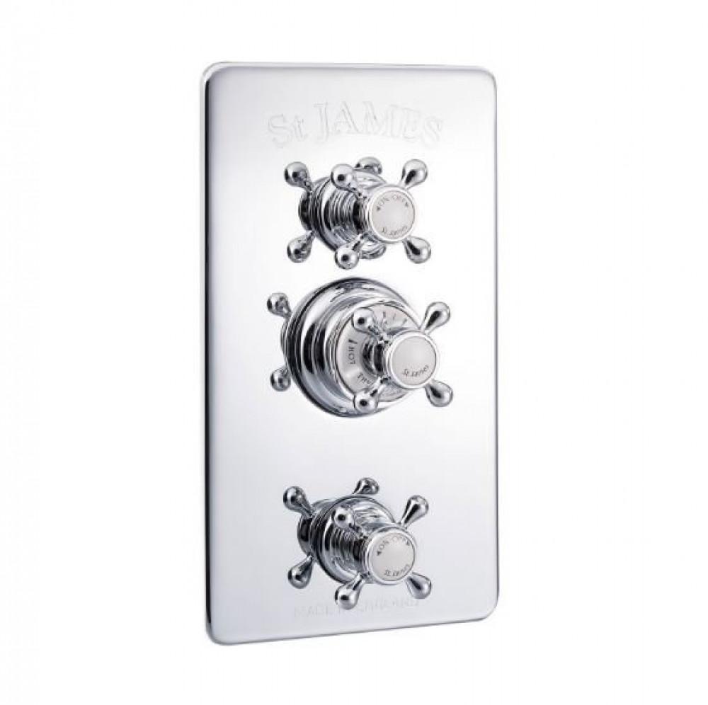 St James Concealed Thermostatic Shower Valve With Integral Flow Valves London Handles