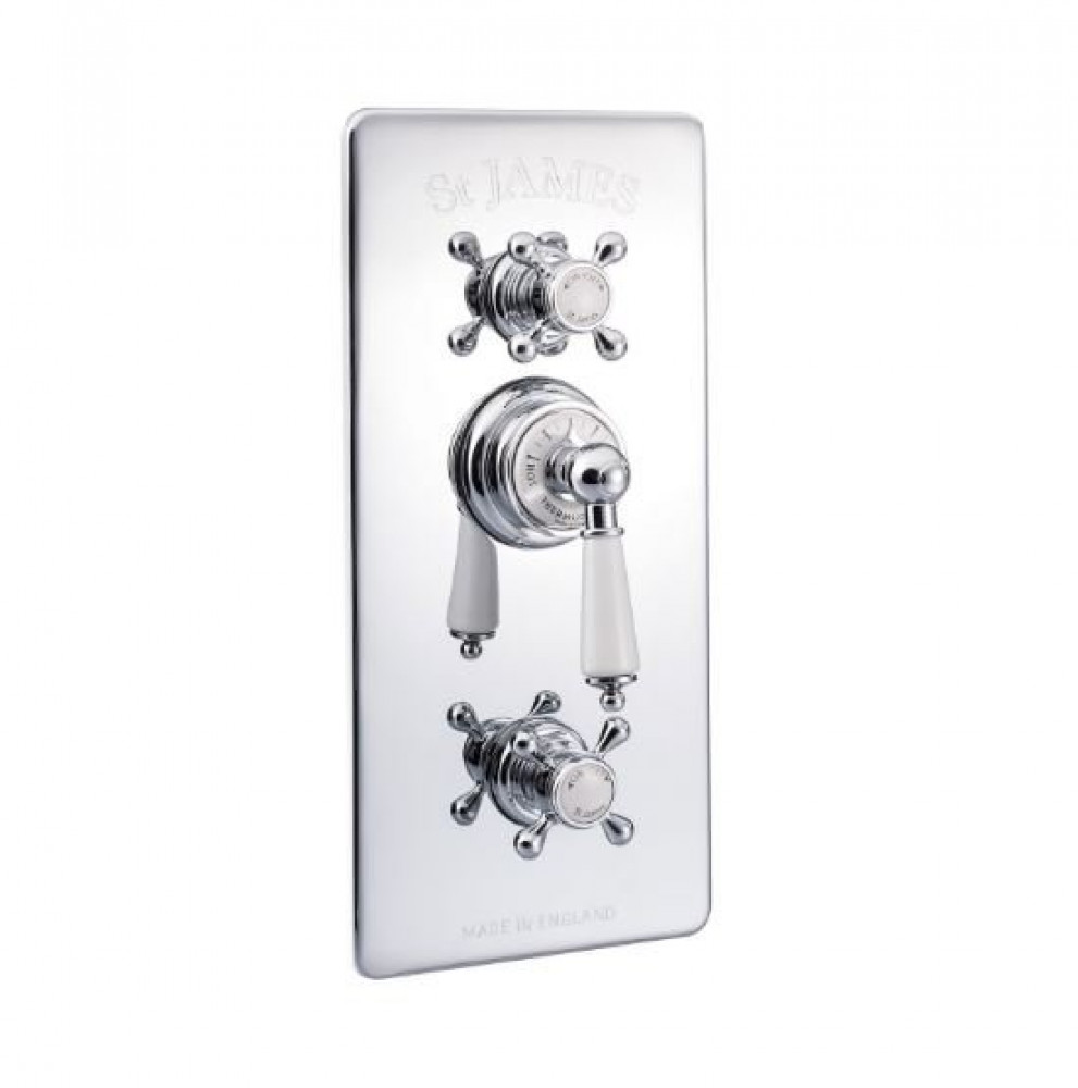 St James Concealed Thermostatic Shower Valve With London Handles And Integral Flow Valves