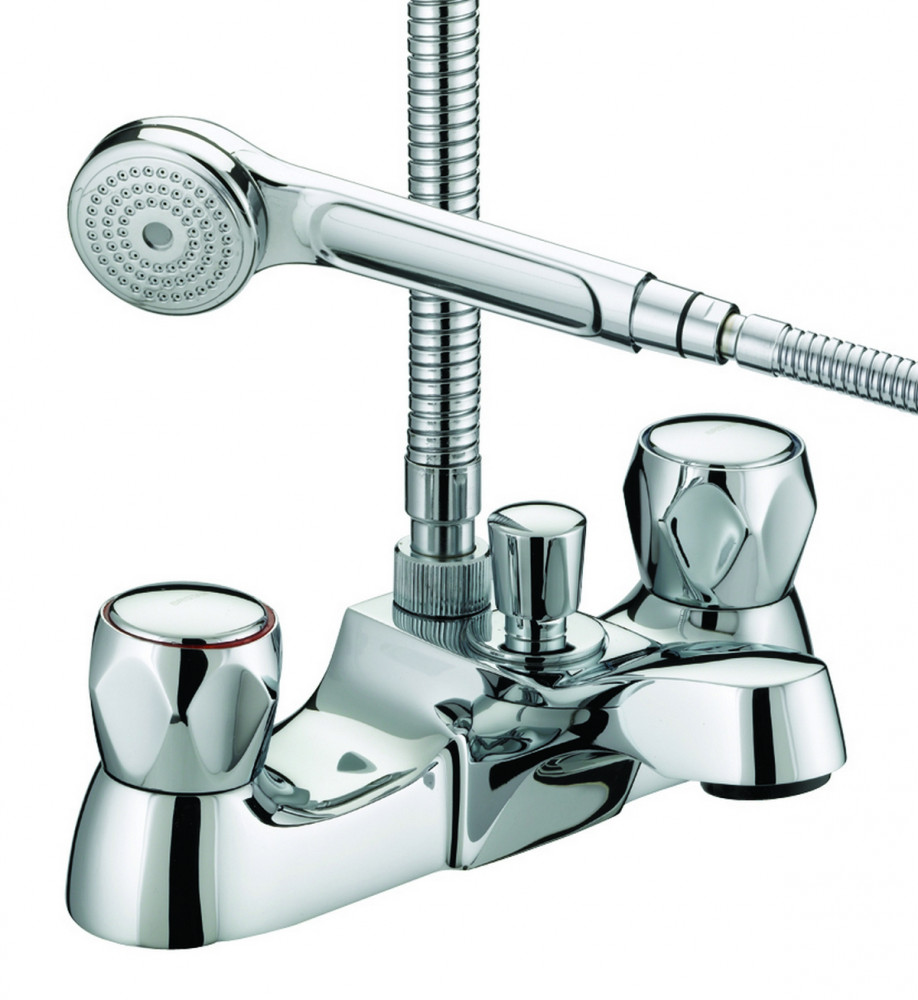Bristan Club Utility, Luxury Bath Shower Mixer, Chrome Plated With Metal Heads