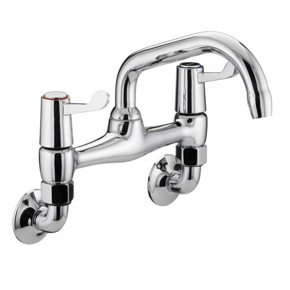 Bristan Value Lever Wall Mounted Sink Mixer, Chrome Plated With Ceramic Disc Valves
