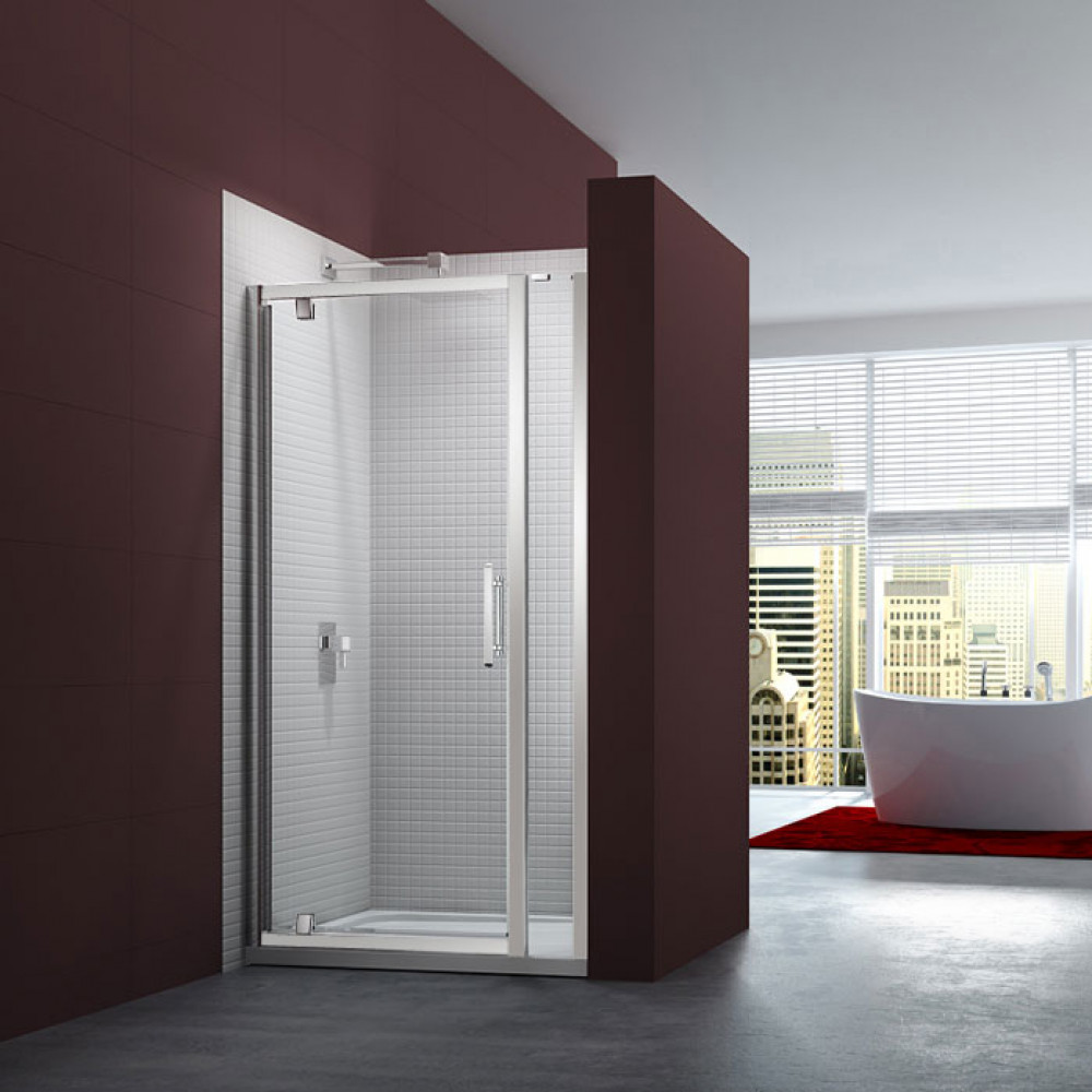 Merlyn 6 Series 1100mm Pivot Shower Door and small Inline Panel