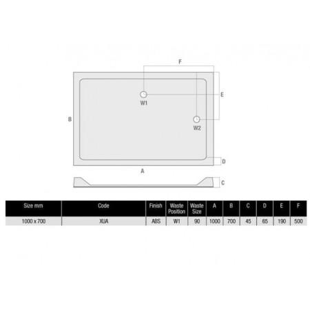 1000 x 700 Rectangular Shower Tray Durastone Low Profile | XUA