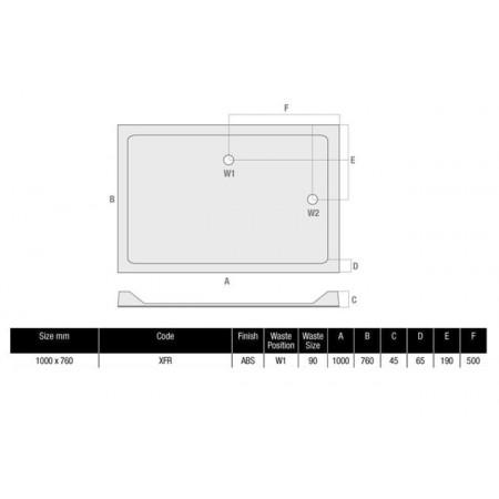 MX Durastone 1000 x 760 Rectangular Shower Tray Low Profile | XFR
