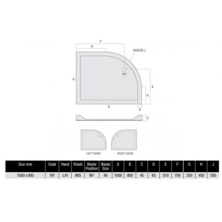 1000 x 800 Offset Quadrant Left Hand Shower Tray Durastone