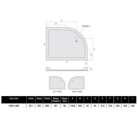 1000 x 800 Offset Quadrant Right Hand Shower Tray Durastone