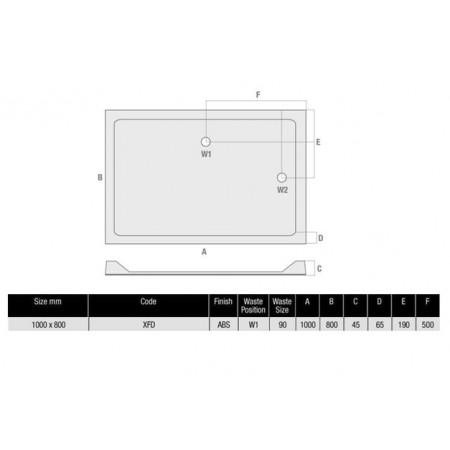 1000 x 800 Rectangular Shower Tray Durastone Low Profile
