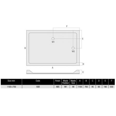 MX Durastone 1100 x 700 Rectangular Shower Tray Low Profile | XUB