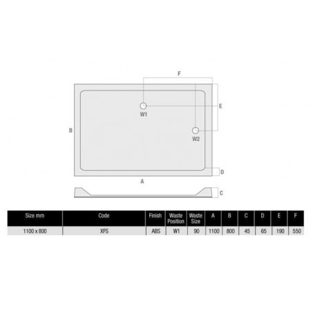 The MX Durastone 1100 x 800 Rectangular, Low Profile Shower Tray