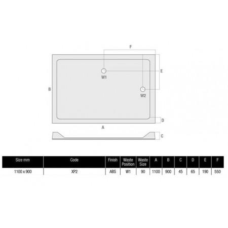 The MX Durastone 1100 x 900 Rectangular Shower Tray Low Profile