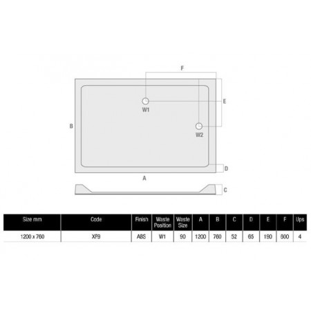 MX Durastone 1200 x 760 Rectangular Shower Tray With Upstand Low Profile   XF9