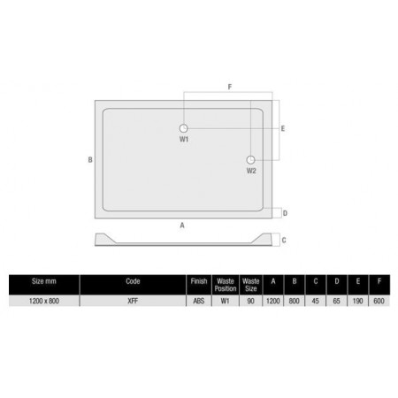 1200 x 800 Rectangular Shower Tray Durastone Low Profile