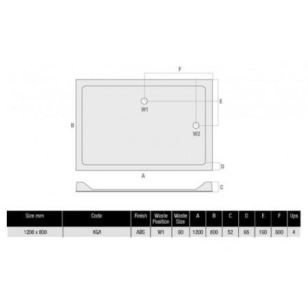 The MX Durastone 1200 x 800 Rectangular Shower Tray With Upstands  Low Profile | XGA