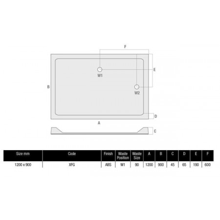 MX Durastone 1200mm x 900mm Rectangular Low profile shower tray | XFG