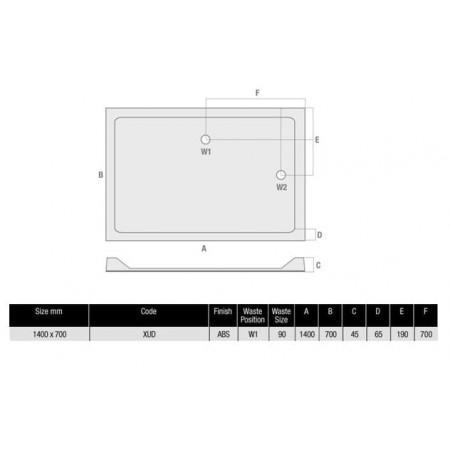 MX Durastone 1400mm x 700mm Rectangular Low profile shower tray | XUD