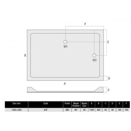 MX Durastone 1400mm x 800mm Rectangular Low profile shower tray   XUF